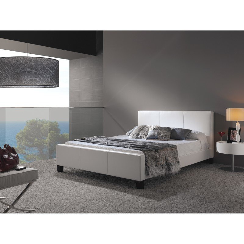 Fashion Bed Group Euro Platform Bed with Side Rails and Soft Upholstered Exterior - White Finish - Full