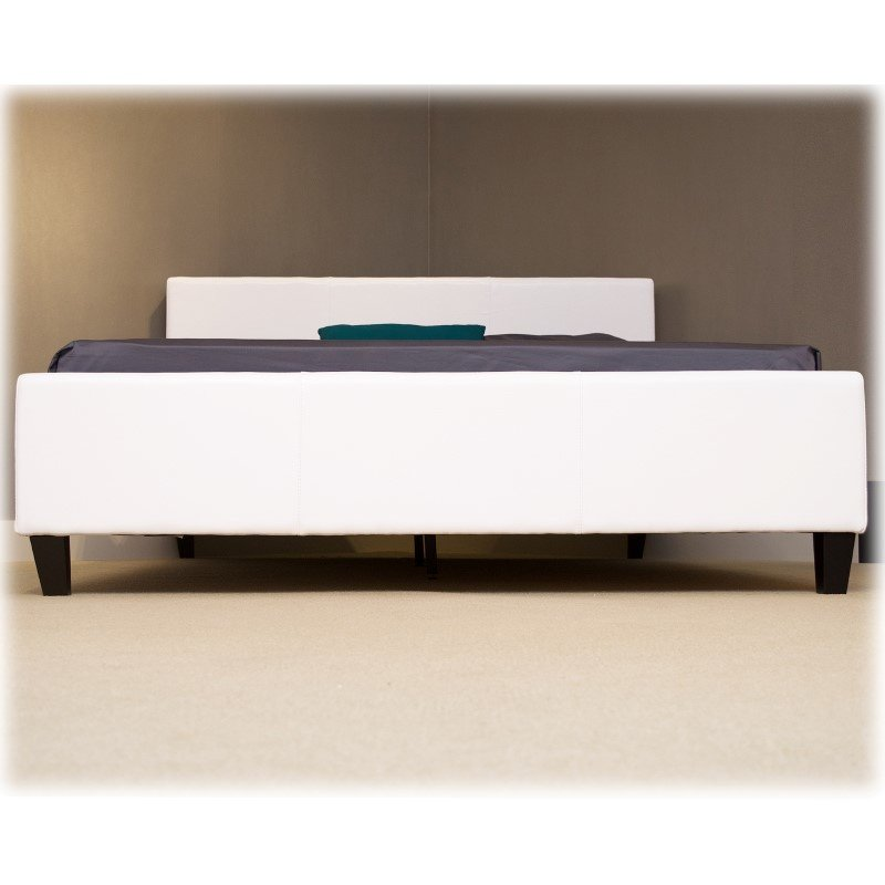 Fashion Bed Group Euro Platform Bed with Side Rails and Soft Upholstered Exterior - White Finish - Queen