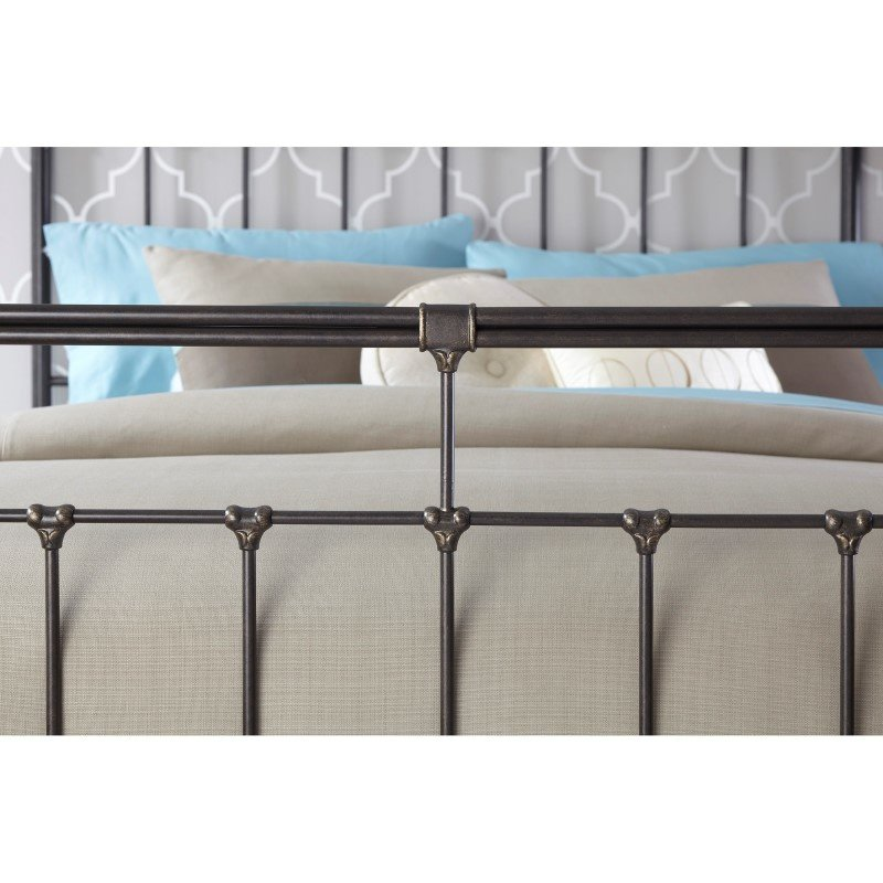 Fashion Bed Group Fairfield Complete Bed with Metal Duo Panels and Castings - Dark Roast Finish - King