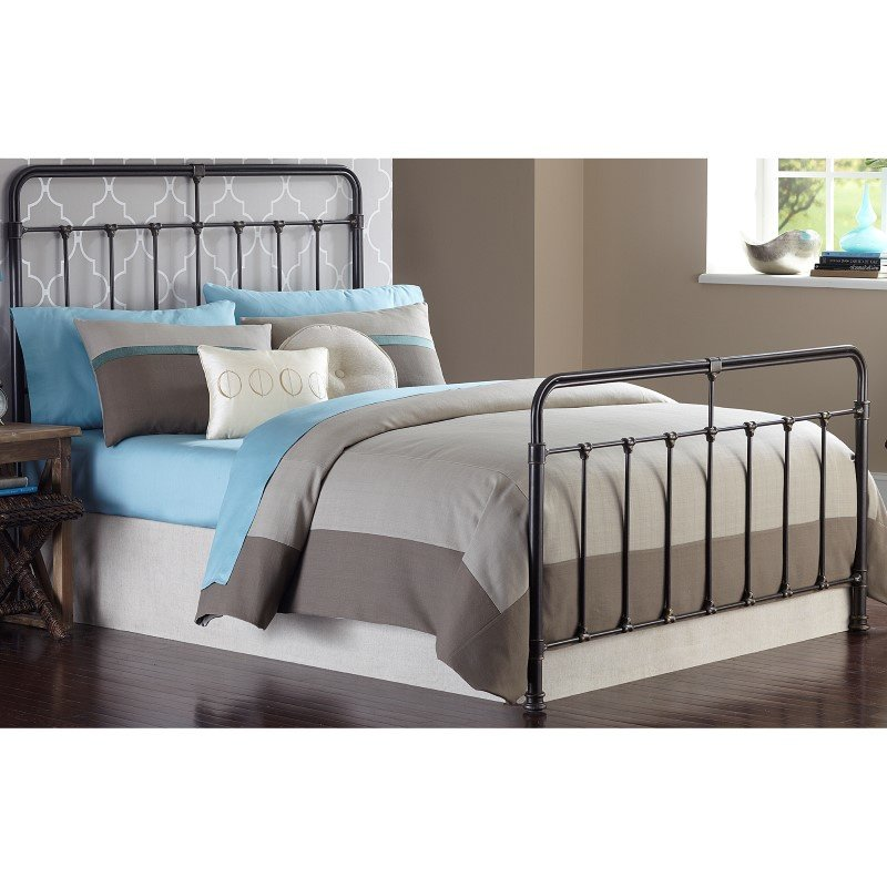 Fashion Bed Group Fairfield Complete Bed with Metal Duo Panels and Castings - Dark Roast Finish - Queen