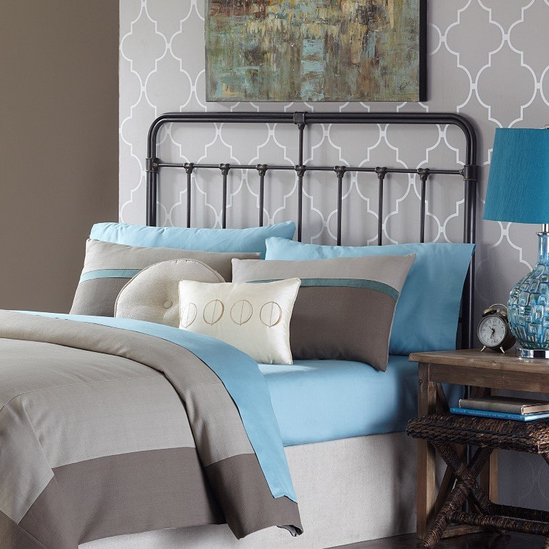 Fashion Bed Group Fairfield Metal Headboard with Spindles and Castings - Dark Roast Finish - Queen
