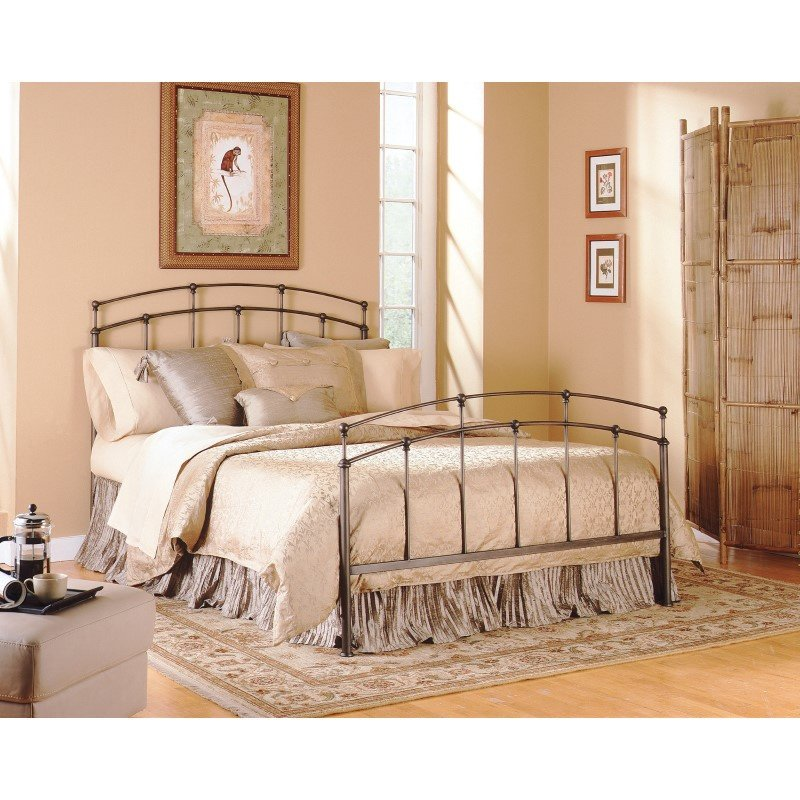 Fashion Bed Group Fenton Complete Bed with Metal Duo Panels and Globe Finials - Black Walnut Finish - King