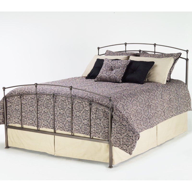 Fashion Bed Group Fenton Complete Bed with Metal Duo Panels and Globe Finials - Black Walnut Finish - Queen