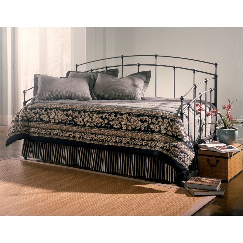 Fashion Bed Group Fenton Metal Daybed Frame with Spindle Panels and Finial Globe Castings - Black Walnut Finish - Twin