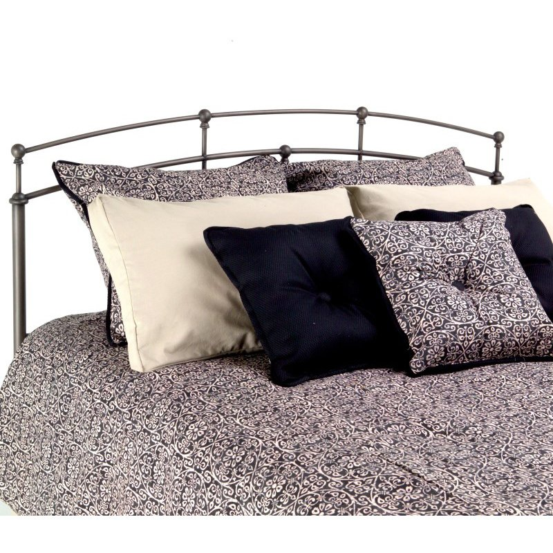 Fashion Bed Group Fenton Metal Headboard Panel with Globe Finials - Black Walnut Finish - Queen