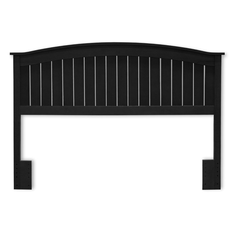 Fashion Bed Group Finley Wooden Headboard Panel with Curved Top Rail Design - Black Finish - Full/Queen