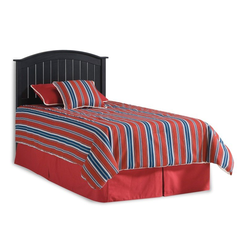 Fashion Bed Group Finley Wooden Headboard Panel with Curved Top Rail Design - Black Finish - Twin