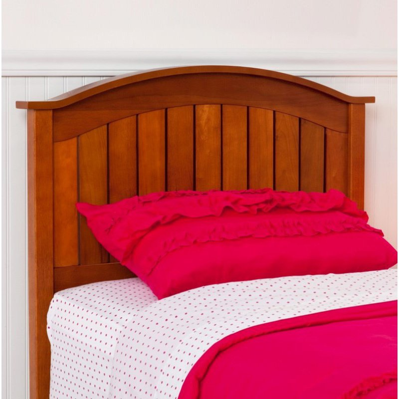 Fashion Bed Group Finley Wooden Headboard Panel with Curved Top Rail Design - Maple Finish - Twin