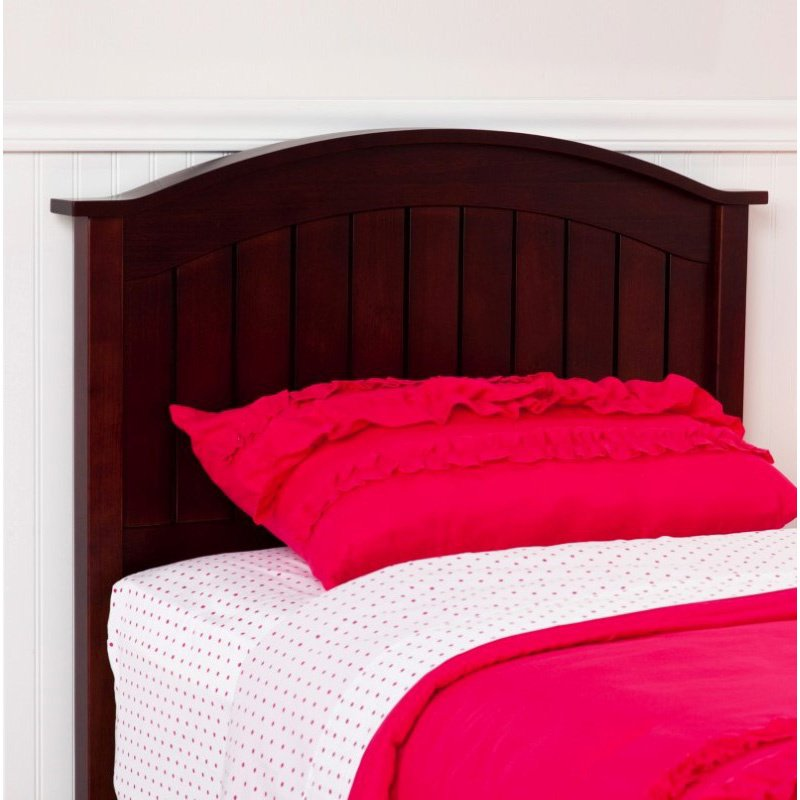 Fashion Bed Group Finley Wooden Headboard Panel with Curved Top Rail Design - Merlot Finish - Twin