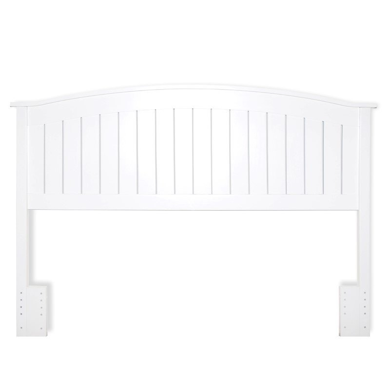 Fashion Bed Group Finley Wooden Headboard Panel with Curved Top Rail Design - White Finish - Full/Queen