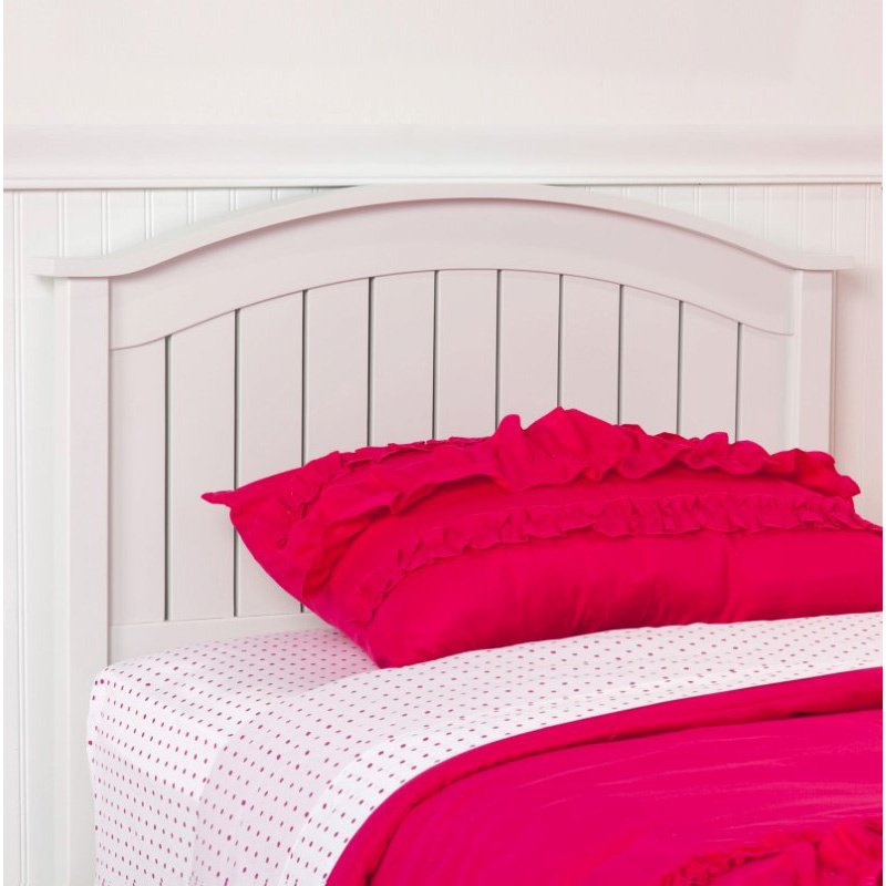 Fashion Bed Group Finley Wooden Headboard Panel with Curved Top Rail Design - White Finish - Twin