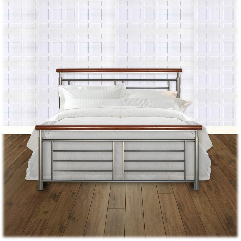 Fashion Bed Group Fontane Complete Bed with Metal Geometric Panels and Rounded Cherry Top Rails - Silver Finish - California King
