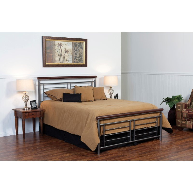 Fashion Bed Group Fontane Complete Bed with Metal Geometric Panels and Rounded Cherry Top Rails - Silver Finish - Full