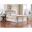 Fashion Bed Group Fontane Complete Bed with Metal Geometric Panels and Rounded Cherry Top Rails - Silver Finish - King
