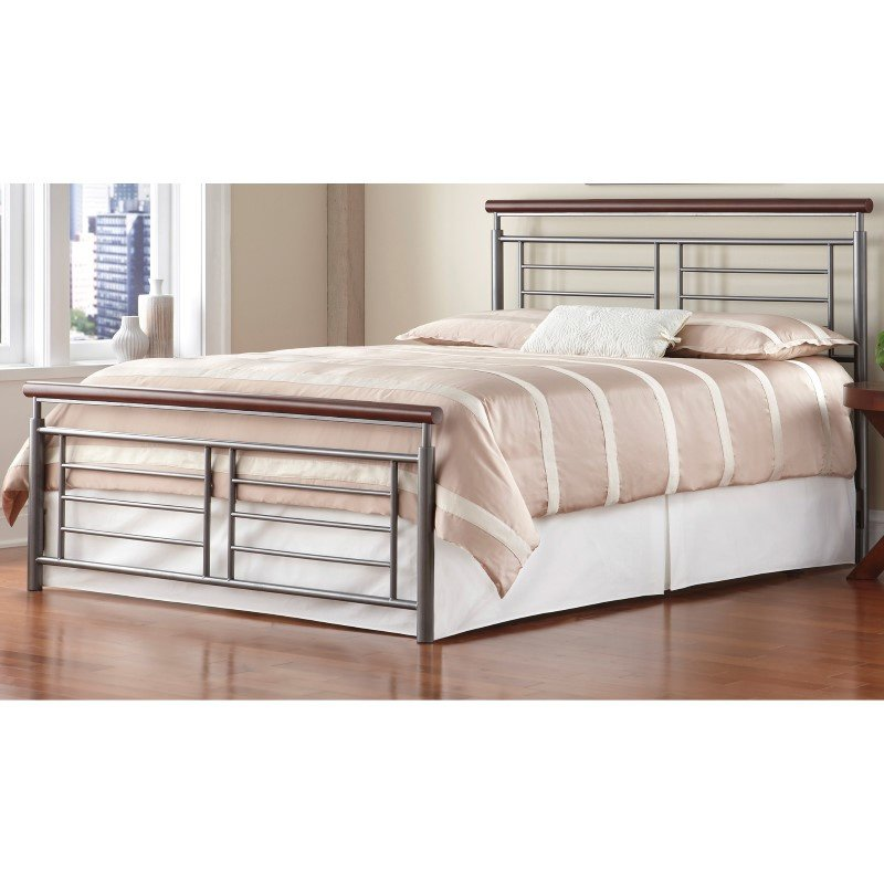 Fashion Bed Group Fontane Complete Bed with Metal Geometric Panels and Rounded Cherry Top Rails - Silver Finish - Queen