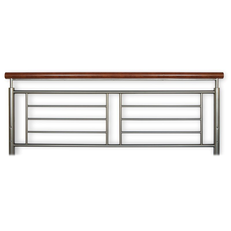 Fashion Bed Group Fontane Metal Headboard with Geometric Panel and Rounded Cherry Top Rail - Silver Finish - California King