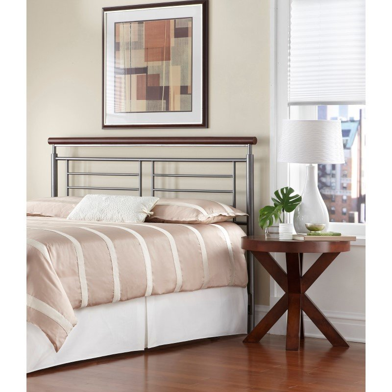 Fashion Bed Group Fontane Metal Headboard with Geometric Panel and Rounded Cherry Top Rail - Silver Finish - Full