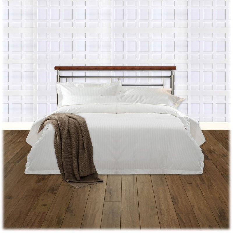 Fashion Bed Group Fontane Metal Headboard with Geometric Panel and Rounded Cherry Top Rail - Silver Finish - King