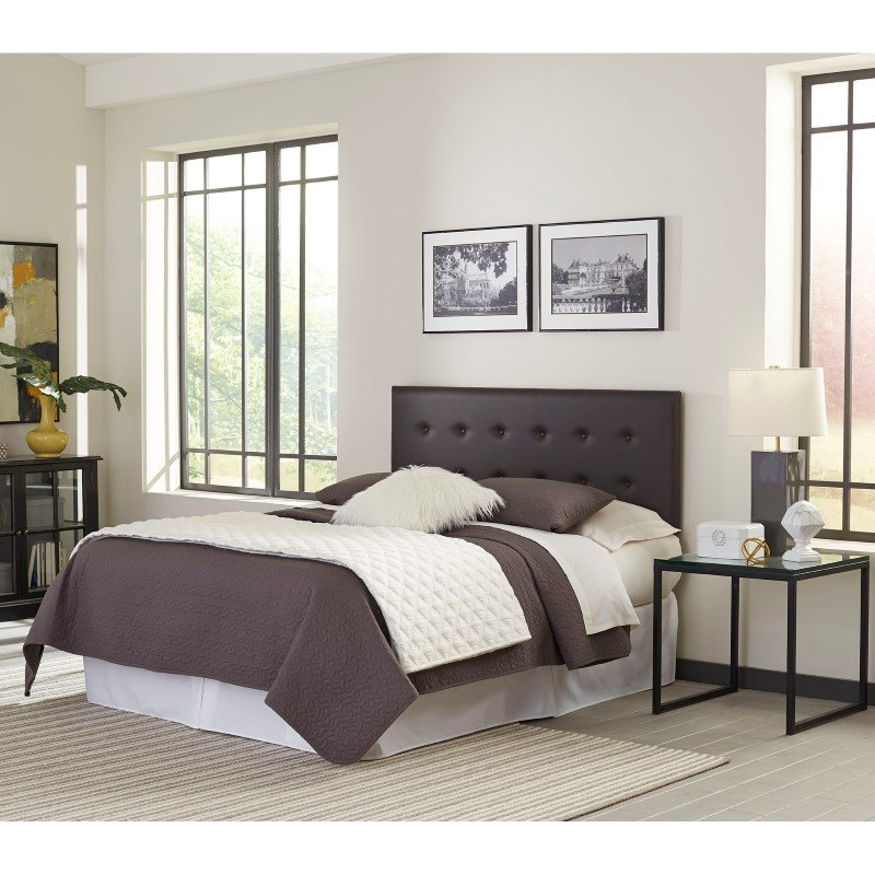 Fashion Bed Group Franklin Adjustable Headboard Panel with Faux Leather Upholstery and Button-Tufted Design - Mocha Finish - Twin