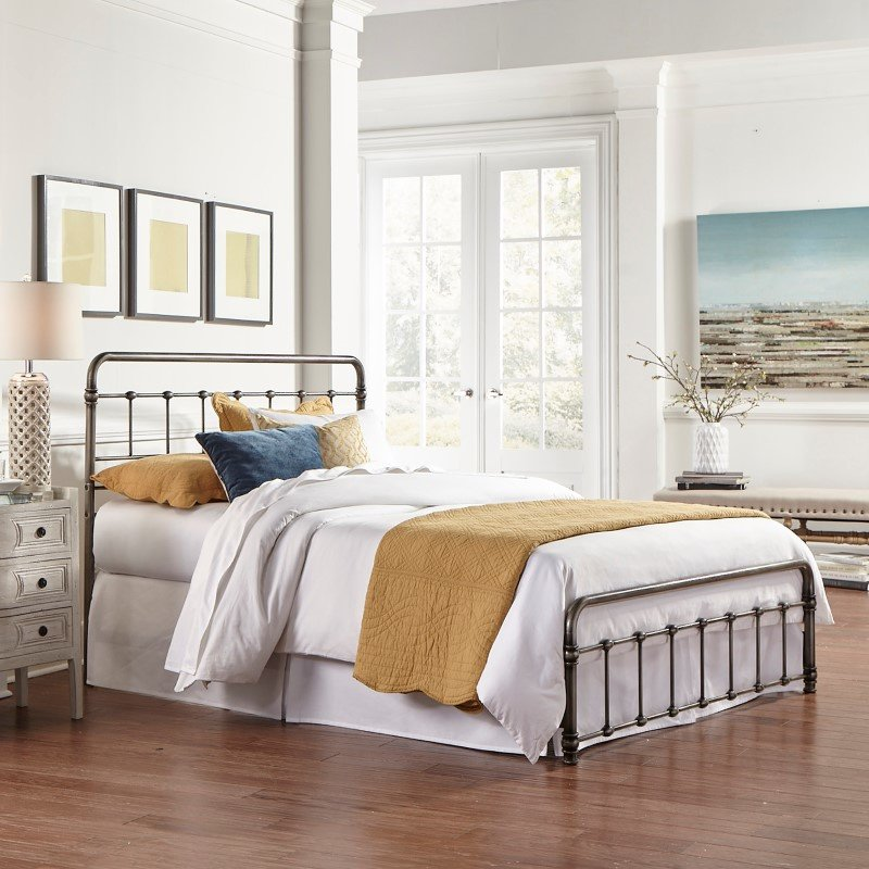 Fashion Bed Group Fremont Snap Bed with Rounded Edge Panels and Folding Metal Side Rails - Weathered Nickel Finish - Full