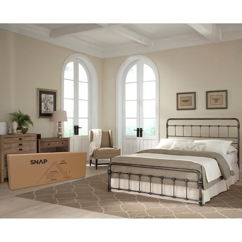 Fashion Bed Group Fremont Snap Bed with Rounded Edge Panels and Folding Metal Side Rails - Weathered Nickel Finish - Queen