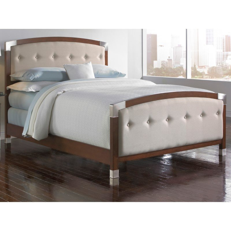Fashion Bed Group Genesis Complete Bed with Accented Wood Panels and Cream Button-Tuft Upholstery - Dark Walnut Finish - California King