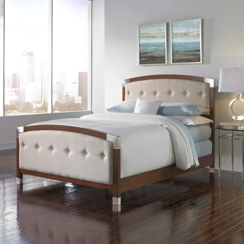 Fashion Bed Group Genesis Complete Bed with Accented Wood Panels and Cream Button-Tuft Upholstery - Dark Walnut Finish - Queen