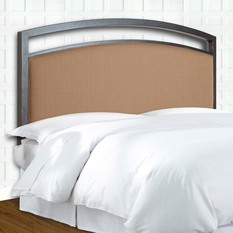 Fashion Bed Group Gibson Complete Bed with Metal Duo Panels and Brown Sugar Upholstery - Brown Sparkle Finish - California King
