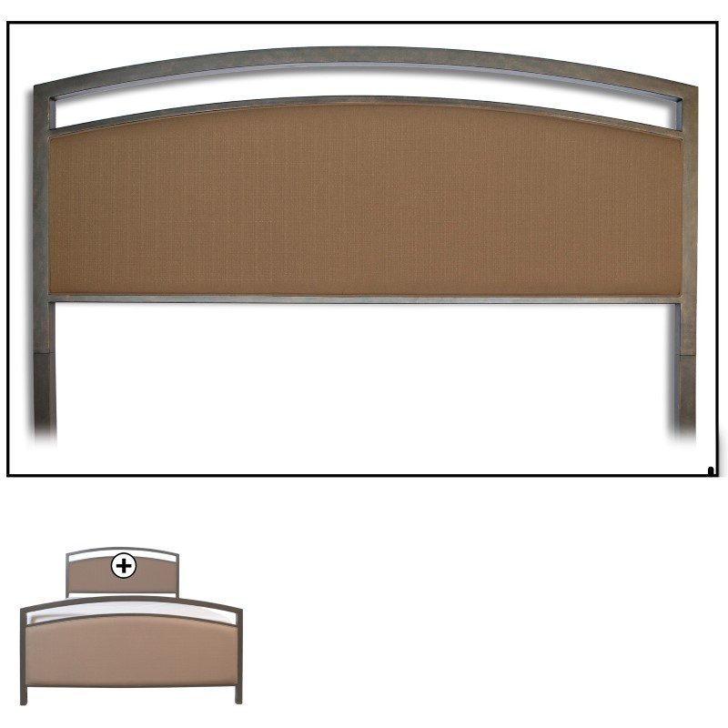 Fashion Bed Group Gibson Complete Bed with Metal Duo Panels and Brown Sugar Upholstery - Brown Sparkle Finish - King