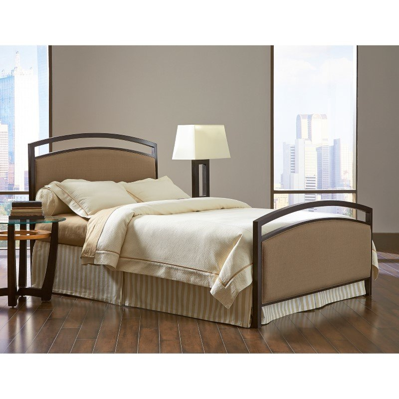 Fashion Bed Group Gibson Complete Bed with Metal Duo Panels and Brown Sugar Upholstery - Brown Sparkle Finish - Queen