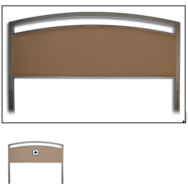 Fashion Bed Group Gibson Metal Headboard Panel with Brown Sugar Upholstery - Brown Sparkle Finish - Full