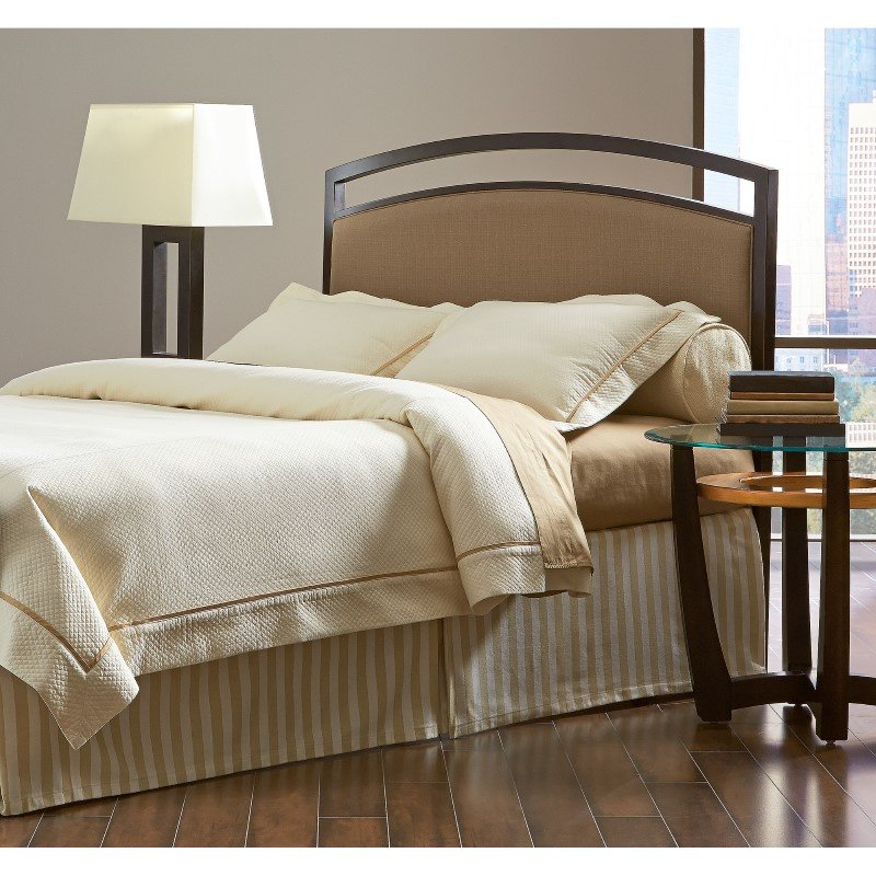 Fashion Bed Group Gibson Metal Headboard Panel with Brown Sugar Upholstery - Brown Sparkle Finish - King