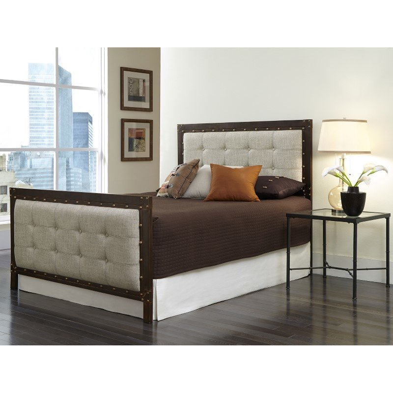Fashion Bed Group Gotham Complete Bed with Dark Latte Upholstered Metal Panels and Antique Industrial Studs - Brushed Copper Finish - California King