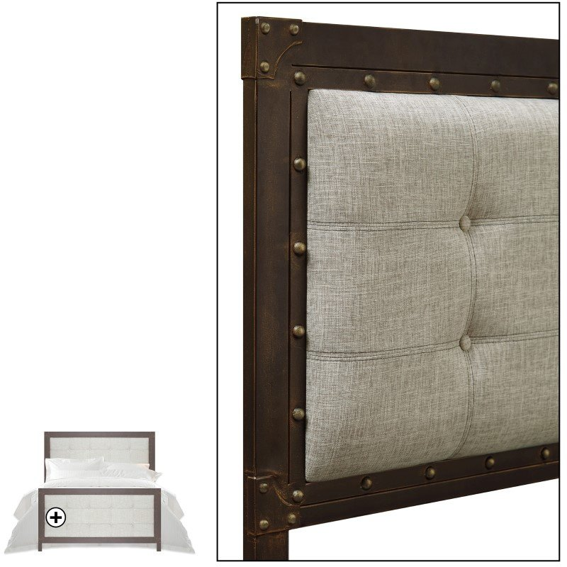Fashion Bed Group Gotham Complete Bed with Dark Latte Upholstered Metal Panels and Antique Industrial Studs - Brushed Copper Finish - King