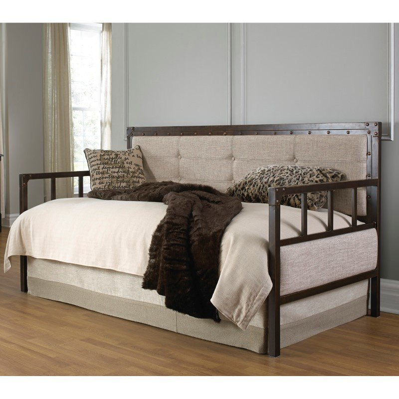 Fashion Bed Group Gotham Metal Daybed with Latte Finished Button-Tufted Upholstery and Brass Studs - Brushed Copper - Twin