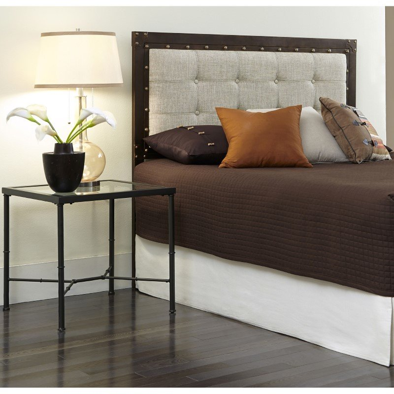 Fashion Bed Group Gotham Metal Headboard with Dark Latte Upholstered Panel and Antique Industrial Studs - Brushed Copper Finish - California King