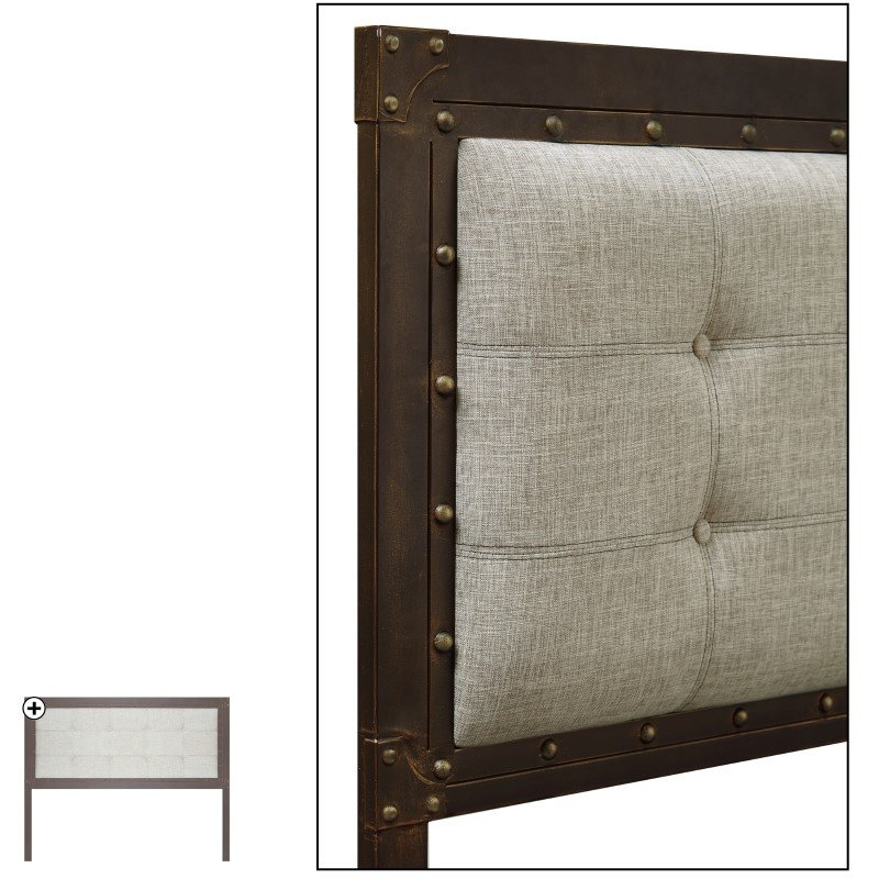 Fashion Bed Group Gotham Metal Headboard with Dark Latte Upholstered Panel and Antique Industrial Studs - Brushed Copper Finish - Queen