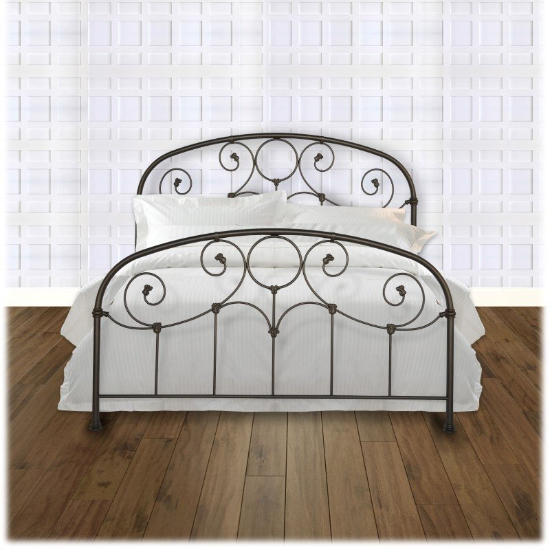 Fashion Bed Group Grafton Complete Bed with Metal Scrollwork Panels and Decorative Castings - Rusty Gold Finish - California King