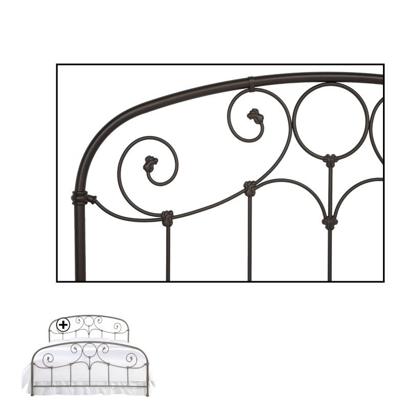 Fashion Bed Group Grafton Complete Bed with Metal Scrollwork Panels and Decorative Castings - Rusty Gold Finish - Full