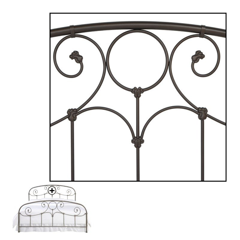 Fashion Bed Group Grafton Complete Bed with Metal Scrollwork Panels and Decorative Castings - Rusty Gold Finish - King