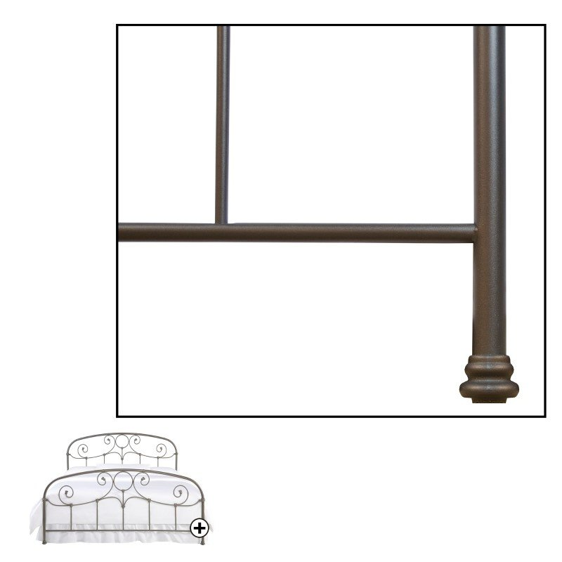 Fashion Bed Group Grafton Complete Bed with Metal Scrollwork Panels and Decorative Castings - Rusty Gold Finish - Queen
