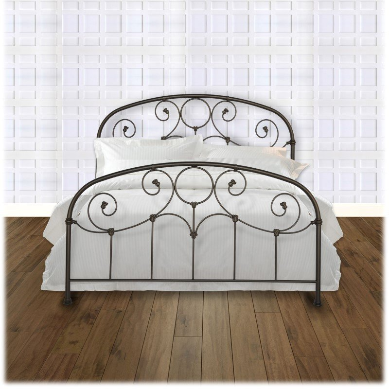 Fashion Bed Group Grafton Complete Bed with Metal Scrollwork Panels and Decorative Castings - Rusty Gold Finish - Twin