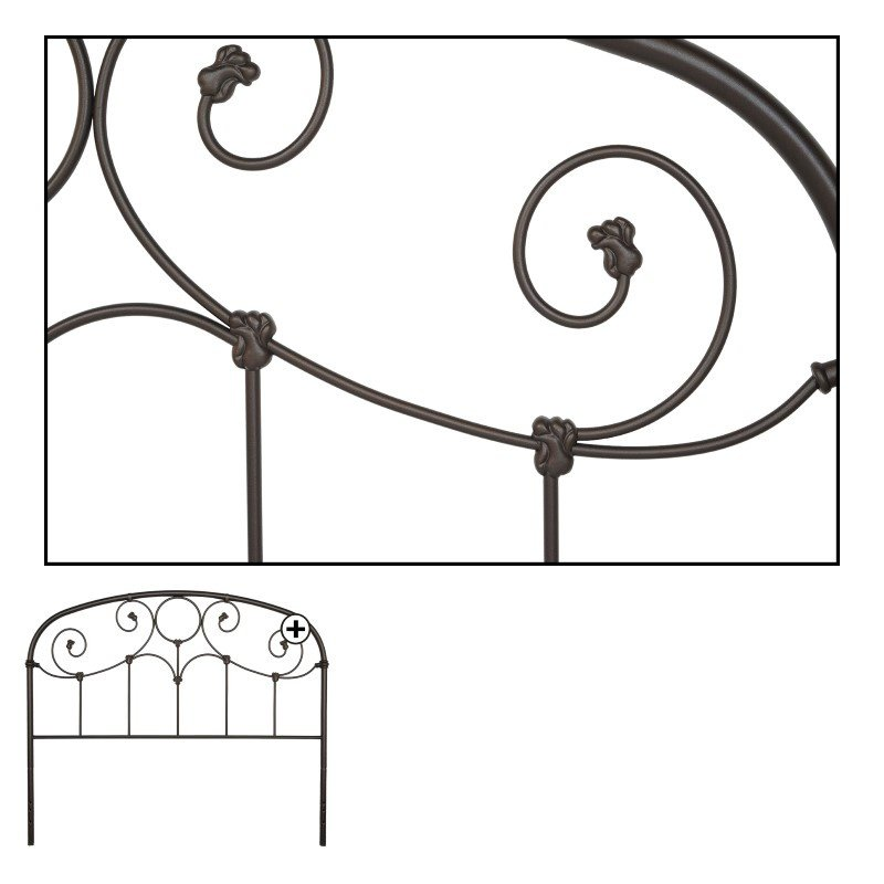 Fashion Bed Group Grafton Metal Headboard with Scrollwork Design and Decorative Castings - Rusty Gold Finish - California King