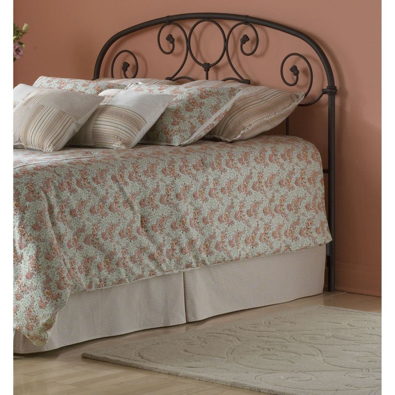 Fashion Bed Group Grafton Metal Headboard with Scrollwork Design and Decorative Castings - Rusty Gold Finish - Full