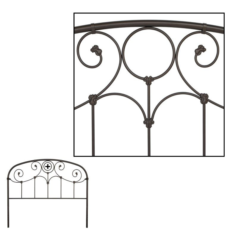Fashion Bed Group Grafton Metal Headboard with Scrollwork Design and Decorative Castings - Rusty Gold Finish - Queen