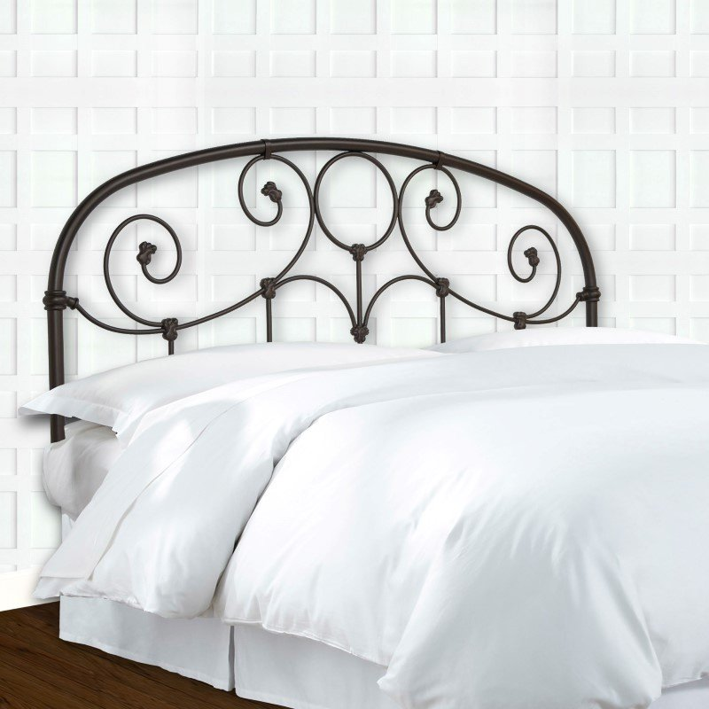 Fashion Bed Group Grafton Metal Headboard with Scrollwork Design and Decorative Castings - Rusty Gold Finish - Twin