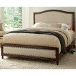 Fashion Bed Group Grandover Platform Bed with Detailed Wooden Frame and Cream Upholstery - Espresso Finish - Queen