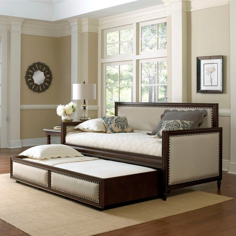 Fashion Bed Group Grandover Wood Daybed with Cream Upholstered Panels and Roll Out Trundle Drawer - Espresso Finish - Twin