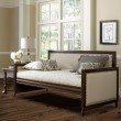 Fashion Bed Group Grandover Wood Daybed with nail head Trim and Cream Upholstery - Espresso Finish - Twin
