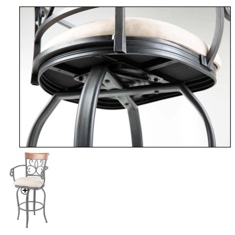 Fashion Bed Group Hartford Metal Barstool with Sand Microfiber Swivel-Seat and Dark Roast Frame Finish - 30-Inch